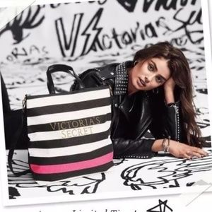 Victoria's Secret VS Striped Pink Beauty Bag Tote